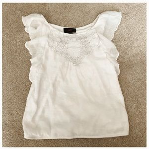 Girls poofy white tank top with lace floral detail